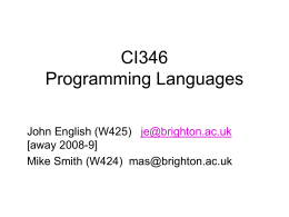 CS337 Comparative Programming Languages