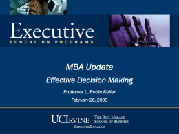 Effective Decision Making - University of California, Irvine