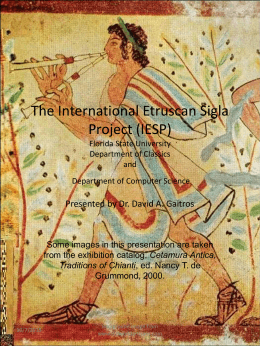 The International Etruscan Sigla Project Florida State