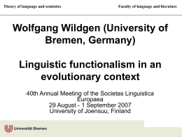 Wolfgang Wildgen (University of Bremen, Germany