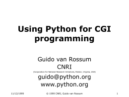 Using Python for CGI programming