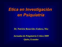 Etica en investigacion psiquiat