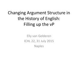 Argument Structure in Flux in the History of English