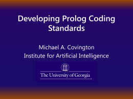 Developing Prolog Coding Standards