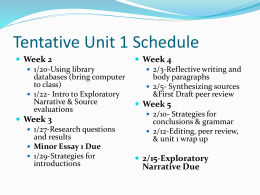 Tentative Unit 1 Schedule