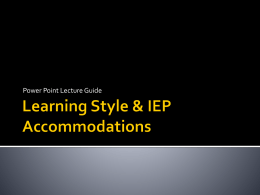 Learning Style & IEP Accommodations
