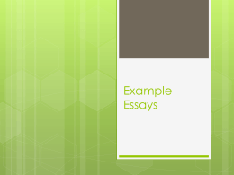 Example Essays - Seneca Valley School District