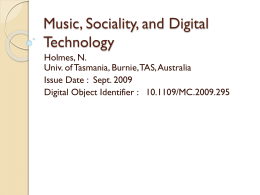 Music, Sociality, and Digital Technology