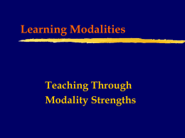 Learning Modalities - The University of West Georgia