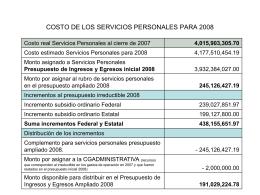 COSTO DE LOS SERVICIOS PERSONALES PARA 2008