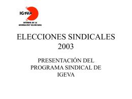 ELECCIONES SINDICALES 2003 - IGEVA