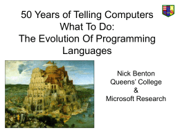 50 Years of Telling Computers What To Do: The Evolution …