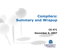 Compilers - University of Virginia