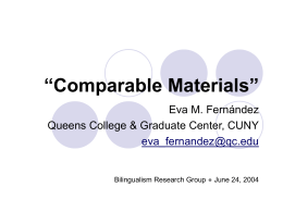 Comparable Materials""