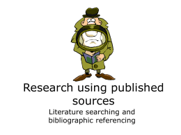 Research using published sources - UCL