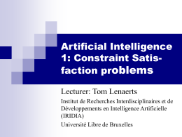 Artificial Intelligence 1: Constraint Satis