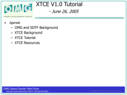 XTCE Tutorial - University of Maryland: Department of