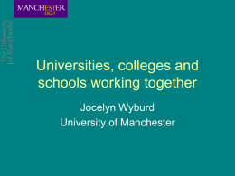 Universities, colleges and schools working together