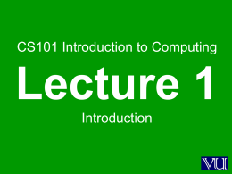 CS101: Intro to Computing