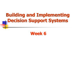 Decision Support Systems Concepts