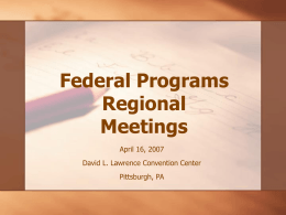 Federal Programs Regional Meetings