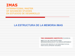 IMAS INTERNATIONAL MASTER OF ADVANCED STUDIES …