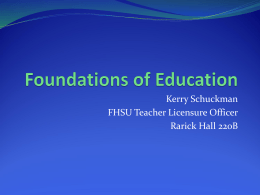 Foundations of Education - Fort Hays State University