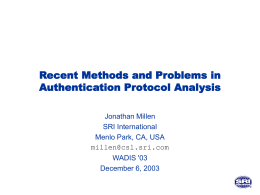 Recent Methods and Problems in Authentication …