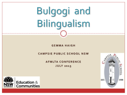 Bilingualism and Bulgogi - AFMLTA National Conference …