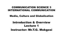 Communication Science 3 global/ international …