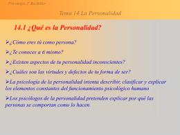 Tema 14 La Personalidad