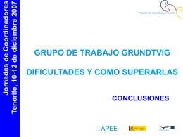 JORNADAS DE COORDINADORES COMENIUS/GRUNDTVIG