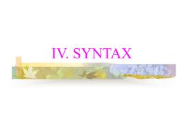 IV. SYNTAX