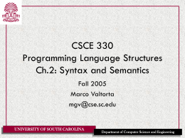 CSCE 330 Programming Language Structures