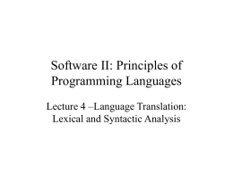 Software II: Principles of Programming Languages