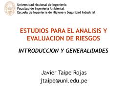 ESTUDIOS PARA EL ANALISIS Y EVALUACION DE RIESGOS