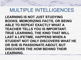 PowerPoint Presentation - MULTIPLE INTELLIGENCES