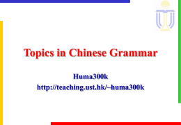Topics in Chinese Grammar