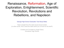 Renaissance, Reformation, Age of Exploration