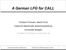 A German LFG for CALL