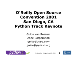 Keynote OSCON 2001