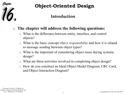 Object Oriented Analyis & Design Training Agenda