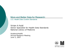 More and Better Data for Research, Betsy L. Humphreys