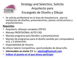 Strategy and Selection, Solicita Arquitecto para Encargado