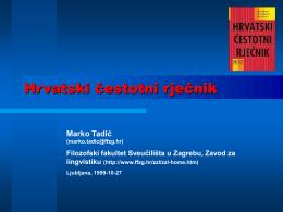 Hrvatski čestotni rječnik - Hrvatski nacionalni korpus