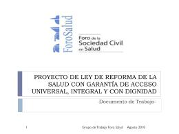 PROYECTO DE LEY DE REFORMA DE LA SALUD CON …
