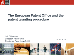 The European Patent Office and the patent granting …