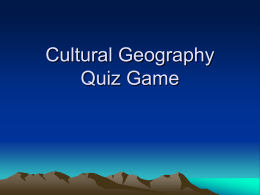 Cultural Geography Quiz Game