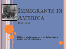 Immigrants in America - Jenks Public Schools