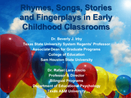 Rhymes, Songs, Stories and Fingerplays in Early Childhood